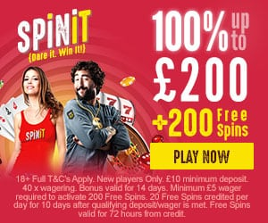 Spinit.com Welcome Bonus 100% up to 200 ENG ALL